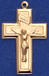 C314 gold hollow crucifix